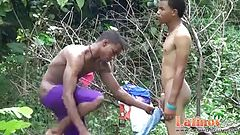 Cute Latin lads blow meat and strip naked outdoors