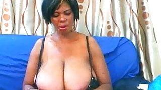 huge tittied african lady tease