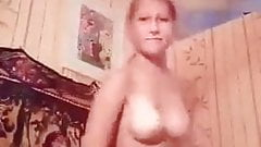 young Blonde striptease
