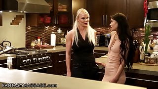 Stepmom Strongly Tastes Stepdaughter's Oiled Pussy