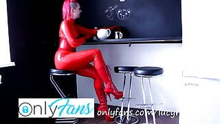 Do you wanna join me for some tea? Red latex catsuit!