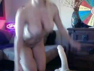 Privat amateur live cam - Blonde with big boobs gives blowjob to her dildo on live cam