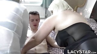 Mature UK lady duo finds young dude and pleases his big cock