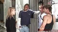 Spanish blonde teen tries anal gangbang