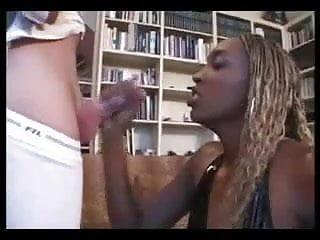 Older woman makes boy cum Chocolate chick make white boy cum