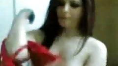 Сирийская женщина в красно-арабском-asw058