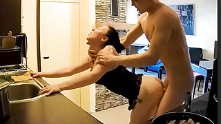Hot Wife Milf Cooking With Spicy Hard Sex Action on Kitchen