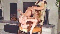 Lesbians tribbing on chair (best quality)