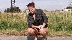 Nice Girl Pissing Outside