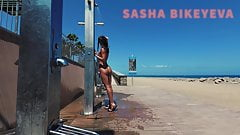 TRAVEL NUDE - Public beach shower. Sasha Bikeyeva.Canaries