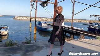 Flashing and Masturbation wearing a seethru outfit