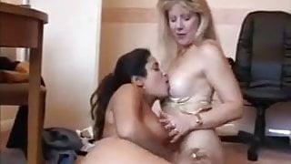 Horny neighbor wives get down to pussy licking and fuck