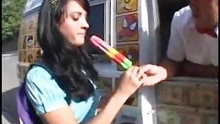 brunette slut gets a dick popsicle