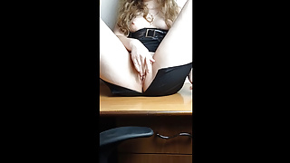curly schoolgirl plays with pussy and gets an orgasm