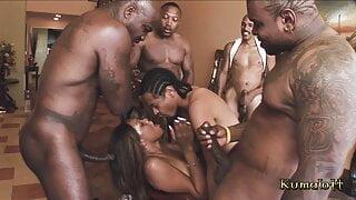 Kumalott GangBang For Cute Ebony Ass