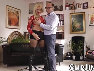 Big tit seniors English beauty is happy when senior drills her pussy doggy