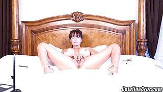 Catalina Cruz oils up her huge breasts and ass masturbating