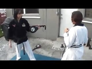 Sexy karate girl Karate footjob