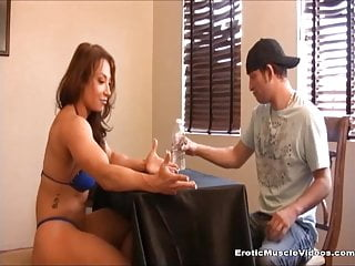 Breast lift and augmenation Humiliated loser lift and carry by gorgeous muscle girl