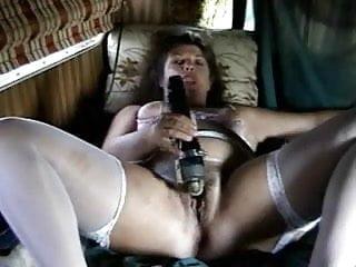 Horney older slut Older slut using several toys to masturbate