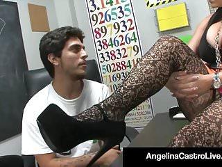 Foot job threesome Cuban teacher angelina castro punish roxanne to do foot job