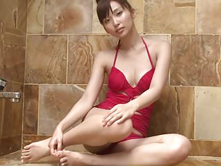 Red velour robe small lingerie - Risa breathe - showering red swimsuit non-nude