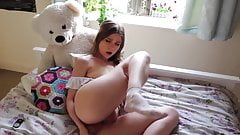 Natural Busty Babe Plunges Butt & Pussy with Her Toy