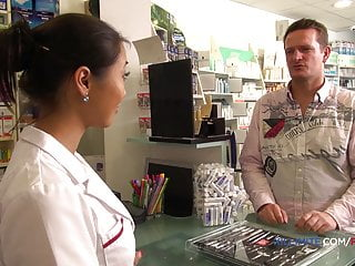 Girl fucking huge dick - French pharmacist gets fucked in the ass by a huge dick