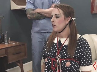 Lesbein bondage - Doll girl gets face fucked, ass fucked, and fed ass and cum