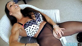Open Sheer Tights Show Big Clit and Labia