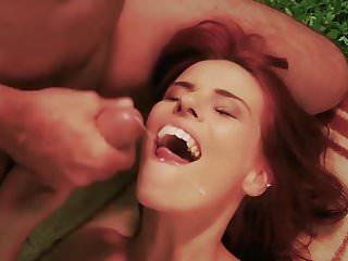 Cute girls swallowing cum Horny cute school girl closeup cum swallow in old fuck break