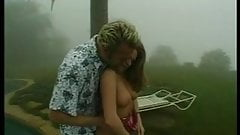 Sexy blonde gets her pussy fingered and licked on lawn chair then fucks