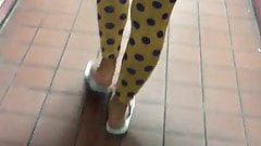 Yellow polka dot legging see through blue panties