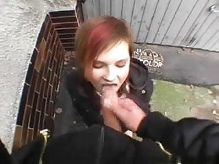 Eating sperm clips - Amazing cute girl eats sperm outdoor