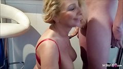 German Mom Suprise Step Son with BJ and swallow his Sperm