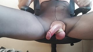 RUINED ORGASM IN PANTYHOSE AFTER LONG EDGING