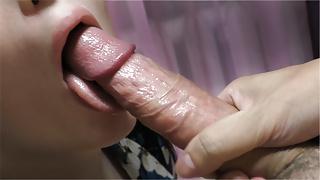 Hot Brunette Deepthroated and Swallowed Cum