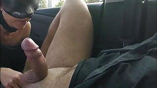 Hot wife in public car park sucks big cock of a stranger
