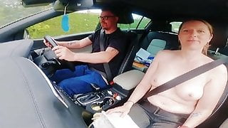 Step Mom gives driving lesson and asks stepson to pull over for blowjob