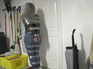 Frat house sex tape Taped up girl hops around house