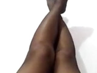 Hairy pussy and black stockings - Rubbing pussy in black pantyhose