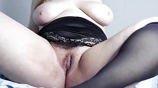 Sexy BBW masturbates hairy pussy and shows her holes