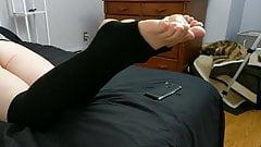 Black stirrup legwarmers footjob
