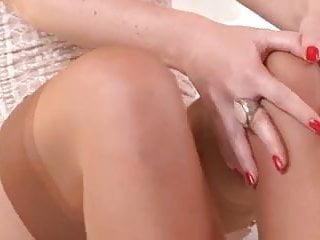 Tan stockings fuck Brunette enjoying foot fetish masturbation in tan stockings