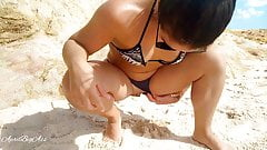 Drinking pee on a public beach, day 2 -AprilBigAss-