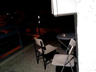 Wife fucks on balcony Couple fucking loud on balcony