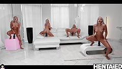 HENTAIED - Hot Blond Twins ride huge Dildos