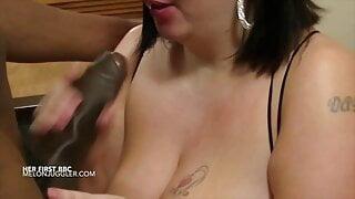 Huge boobs Milf gets a taste of her first big black cock