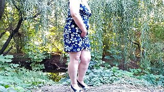 Spreading my huge ass hard and pissing outdoors