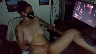 Masturbating to video of neighbor riding her man!